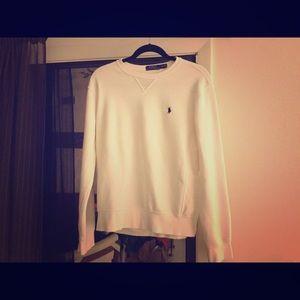 Men's  white Polo sweat shirt.